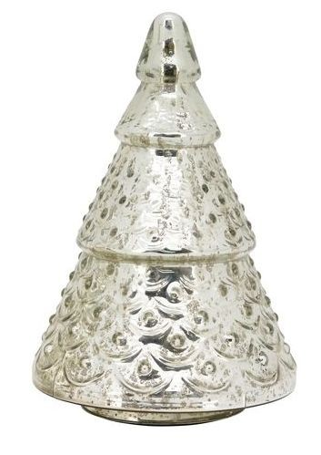 Sříbrný skleněný svítící stromek- Ø 13*20cm