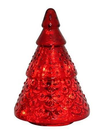 Červený skleněný svítící stromek- Ø 16*24cm