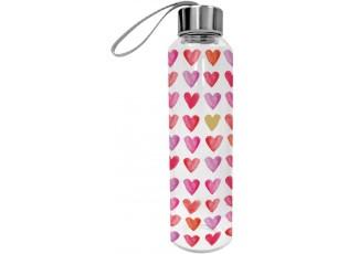 Skleněná láhev Aquarell Hearts - 550ml