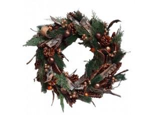 Bronzový vánoční věnec se šiškami -  Ø 49*11 cm