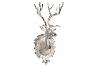 Stříbrná kovová nástěnná dekorace jelen - 25*25*63 cm
