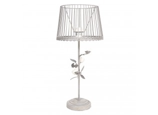 Šedá stolní lampa s patinou a růžičkami -Ø 20*48 cm