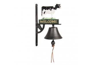 Litinový zvonek na dveře s krávou a nápisem Welcome - 23*13*33 cm