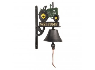 Litinový zvonek s traktorem a nápisem Welcome - 21*13*33 cm