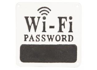 Nástěnná kovová cedule na heslo Wi-fi - 16*16*0.5 cm