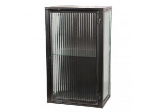 Nástěnná kovová černá skříň / vitrína - 30*21*50 cm