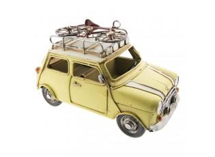 Kovový retro model žlutého auta s bicyklem - 23*11*13 cm