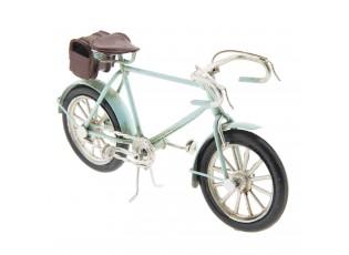 Kovový model retro světle modrého bicyklu- 16*4*8 cm