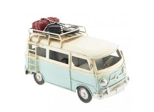 Kovový model retro autobusu se zavazadly - 17*8*10 cm