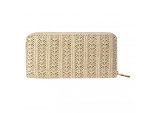 Béžová peněženka s provázkovým zdobením - 19*10 cm