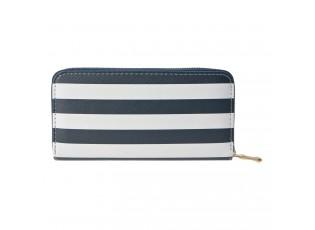 Středně velká peněženka s modro bílými pruhy se zapínáním na zip.