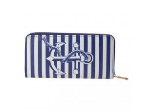 Středně velká peněženka s modrou kotvou a zapínáním na zip.