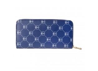Modrá středně velká peněženka s bílými kotvami a zapínáním na zip.