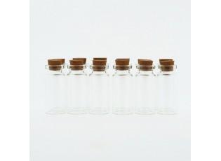 Sada 12ks skleněných lahviček s korkovým uzávěrem Alivia- Ø 2*5 cm