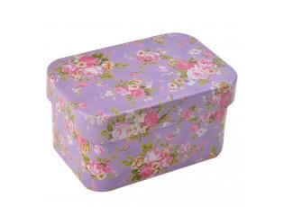 Fialová plechová malá krabička /šperkovnice - 7*5*4 cm