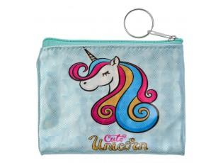 Malá modrá peněženka s jednorožcem - 11*8  cm