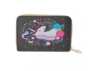 Černá menší peněženka s jednorožcem - 13*9  cm