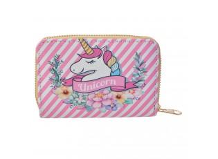 Růžová menší peněženka s jednorožcem - 13*9  cm