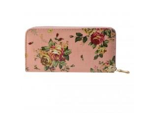 Středně velká růžová peněženka s květinami se zapínáním na zip.