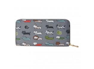 Středně velká šedá peněženka s malovanými kočičkami se zapínáním na zip.