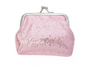 Malá světle růžová lesklá peněženka s kovovou sponou - 8*9  cm