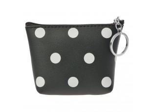 Malá černá peněženka s bílými puntiky a zapínáním na zip.