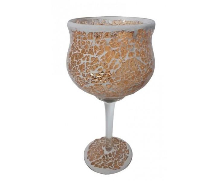 Champagne skleněný svícen na noze Mosaik - Ø 11*25 cm