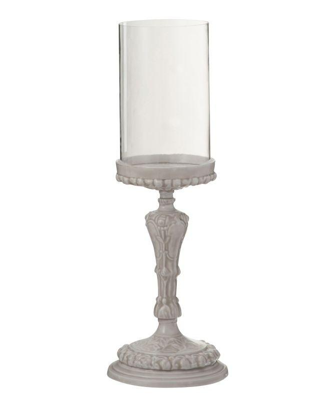 Skleněný svícen na keramické noze Tara - Ø 16*44cm