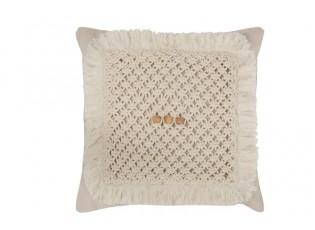 Přírodní bavlněný polštář Crocheted - 45*45cm
