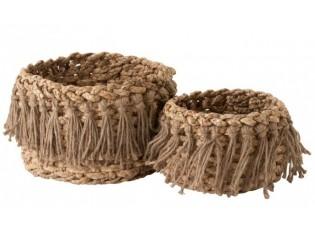 Sada 2 přírodních košíků z trávy -  Ø 31*27 cm