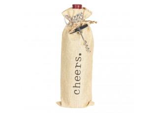 Plátěný pytlík Cheers na víno s vývrtkou - 11*3*37 cm