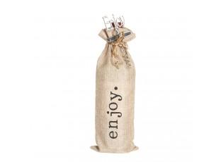 Plátěný pytlík Enjoy na víno s vývrtkou - 11*3*37 cm