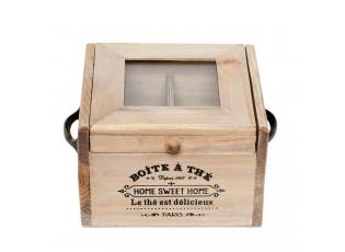 Čajový dřevěný box (4 přihrádky) - 15*14*10 cm