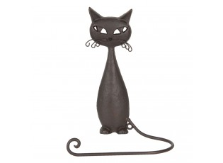Hnědý kovový držák na ručník kočka - 19*9*28 cm