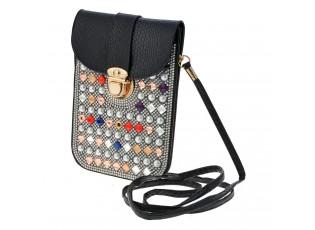 Černá kabelka přes rameno s barevnými kamínky - 12*18 cm