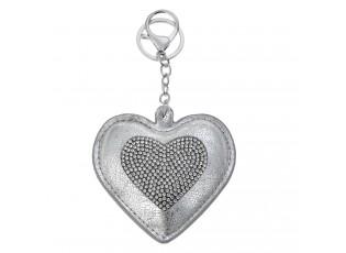 Přívěsek na klíče stříbrné srdce s kamínky - 8*1*8cm