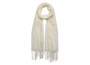 Krémový šátek s třásněmi - 70*170 cm
