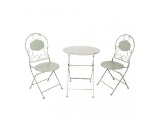 Šedý kovový stůl + 2x židle - Ø 60*70 / 2x Ø 40*40*92 cm