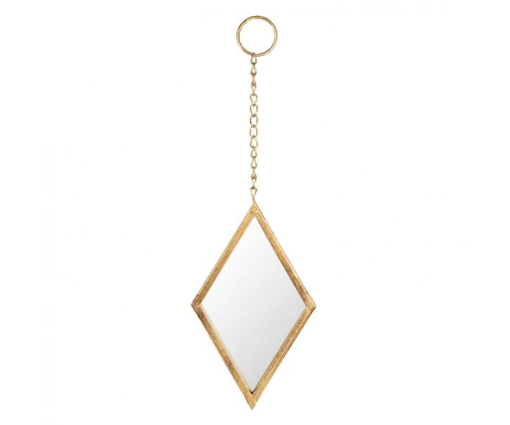 Závěsné kosočtvercové zrcadlo ve zlatém rámu - 18*2*28 cm