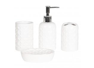 4dílná bílá koupelnová sada Petales