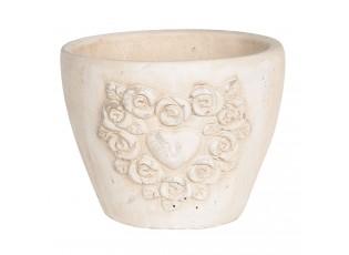 Terakotový květináč s patinou a motivem růží a srdce - 15*15*12 cm
