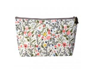 Béžová toaletní taška s květinami - 22*14 cm