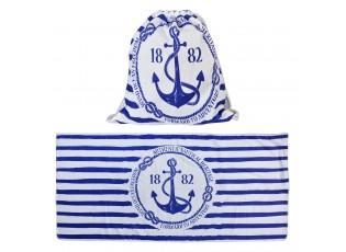 Ručník s kotvou v batohu na záda Nautical - 70*150 cm