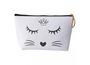 Bílo černá toaletní taška kočička - 21*12 cm