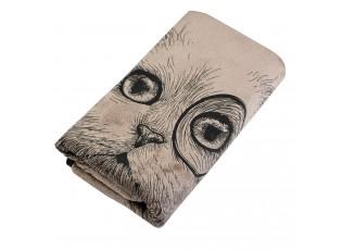 Hnědý ručník Cat - 35*75 cm