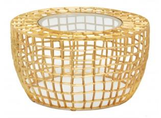 Zlatý odkládací stolek se skleněnou deskou - Ø 53*54 cm