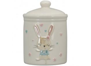 Krémová keramická dóza s perleťovým králíčkem - Ø10*15cm