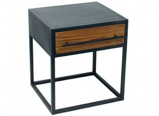 Kovový dřevěný noční stolek Industrial - 45*40*50 cm