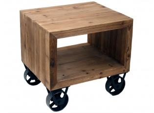 Dřevěný recyklovaný noční stolek na kolečkách - 60*50*55 cm