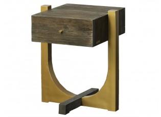 Kovový dřevěný noční stolek Goldy- 51*45*61 cm